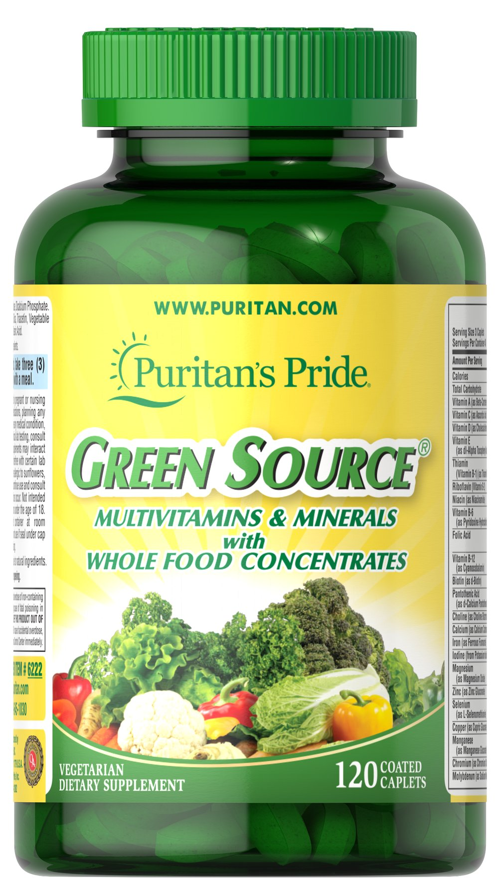 Green Source® Multivitamin & Minerals <p>This concentrated formula contains potent food source nutrients to provide essential vitamins, minerals, enzymes and amino acids. It also provides all the naturally occurring active constituents of whole foods.</p> 120 Caplets  $17.49