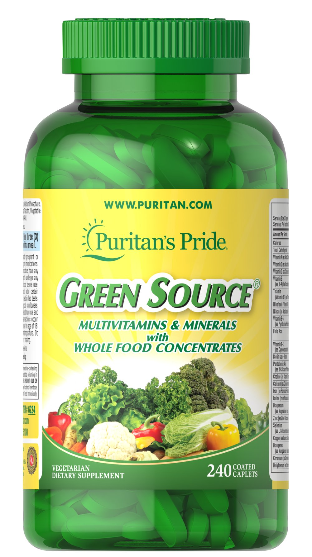 Green Source® Multivitamin & Minerals <p>This concentrated formula contains potent food source nutrients to provide essential vitamins, minerals, enzymes and amino acids. It also provides all the naturally occurring active constituents of whole foods.</p> 240 Caplets  $59.99