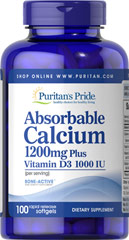 Absorbable Calcium 1200 mg with Vitamin D 1000 IU <p>Finally, a liquid Calcium supplement in a convenient softgel form! Less than 30 minutes after ingestion, each rapid dissolving softgel releases pre-dissolved liquid Calcium. Plus, each softgel is fortified with Vitamin D. Calcium and Vitamin D help maintain healthy bones in adults.**</p> 100 Softgels 1200 mg/1000 IU $13.99