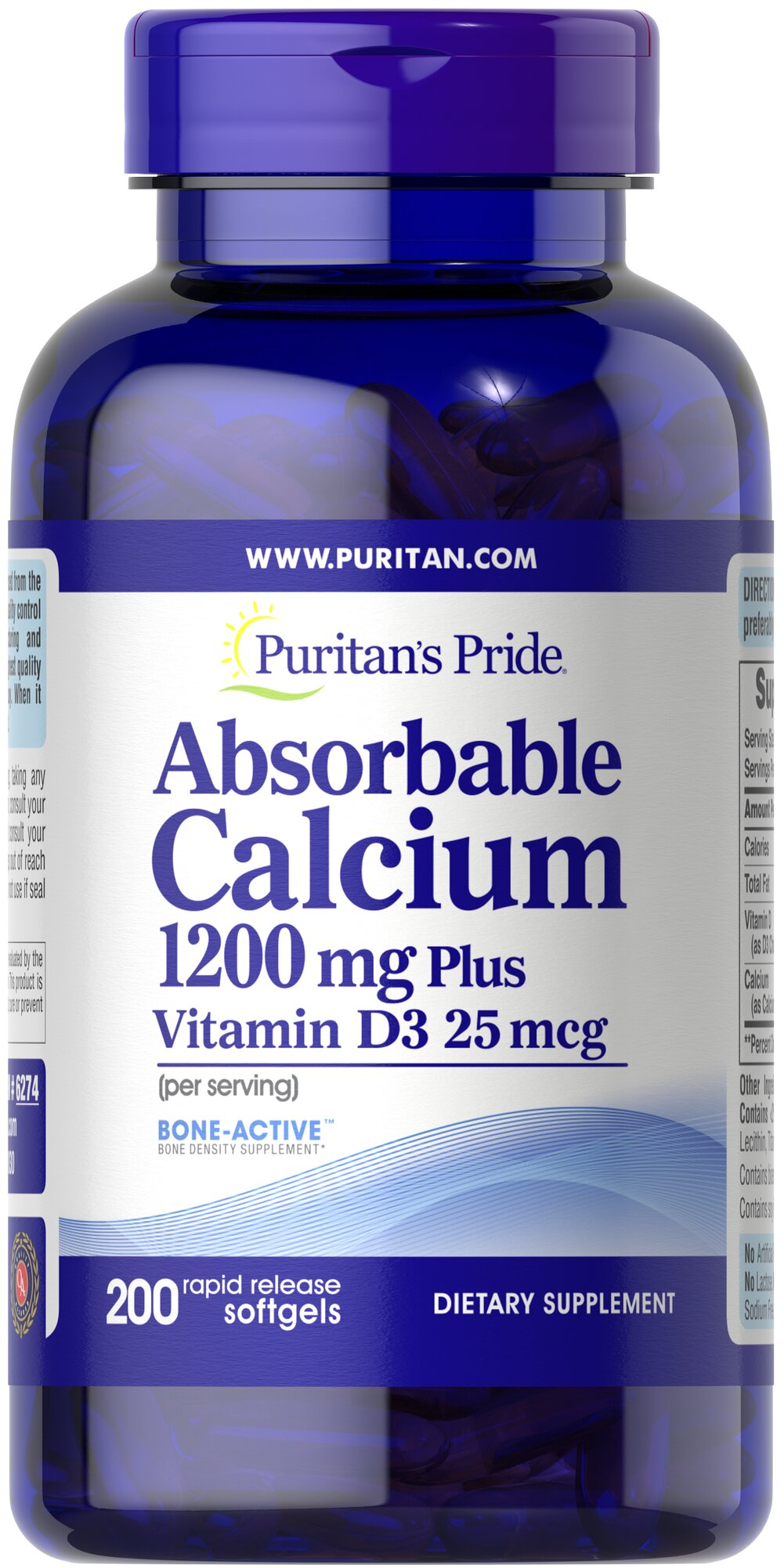 Absorbable Calcium 1200 mg with Vitamin D 1000 IU <p>Finally, a liquid Calcium supplement in a convenient softgel form! Less than 30 minutes after ingestion, each rapid dissolving softgel releases pre-dissolved liquid Calcium. Plus, each softgel is fortified with Vitamin D. Calcium and Vitamin D help maintain healthy bones in adults.**</p> 200 Softgels 1200 mg/1000 IU $19.99