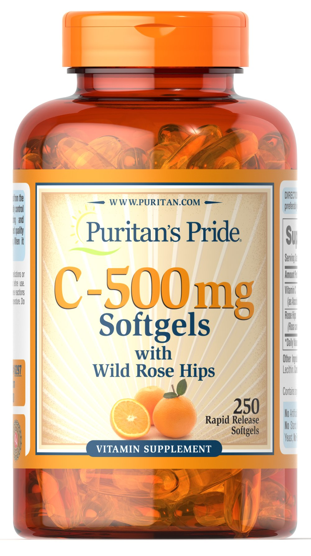 Vitamin C-500 mg with Rosehips  250 Softgels 500 mg