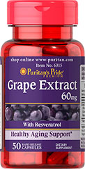 Resveratrol/Grape Extract 60 mg <p>Our <strong>Grape Extract</strong> contains natural extracts of both the skin and seeds of the grape. This product contains flavonoid polyphenols and <strong>resveratrol, the beneficial substance found in red wine</strong>.** Grape Extract has been shown to help support heart health.**  Supplementing with Grape Extract promotes antioxidant support  by  helping to fight cell-damaging free radicals**.</p> 50 Capsules 60 mg $11.