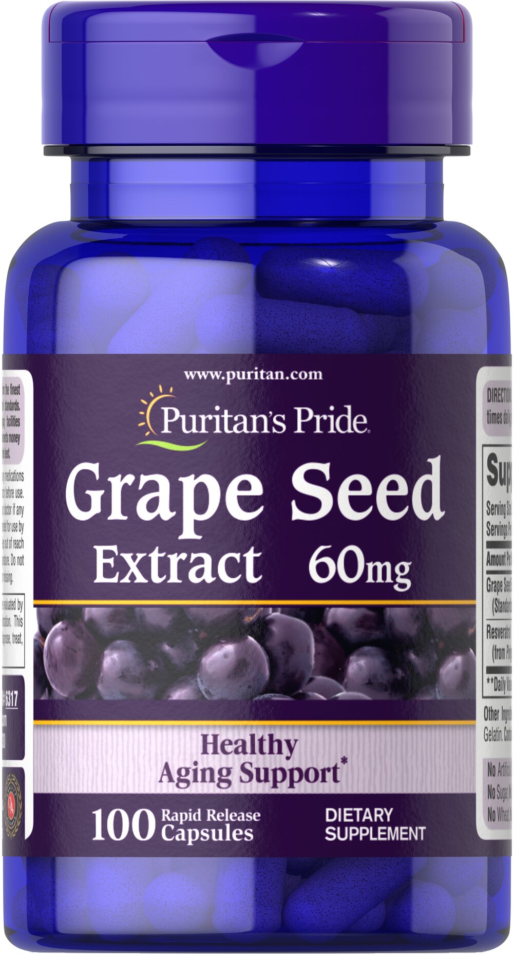 Resveratrol/Grape Extract 60 mg <p>Our <b>Grape Extract</b> contains natural extracts of both the skin and seeds of the grape. This product contains flavonoid polyphenols and <b>resveratrol, the beneficial substance found in red wine</b>.** Grape Extract has been shown to help support heart health.**  Supplementing with Grape Extract promotes antioxidant support  by  helping to fight cell-damaging free radicals**.</p>   100 Capsules 60 mg $20.59