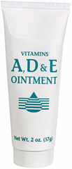 Vitamins A, D & E Ointment   <p>Use on  Eczemas, Dermatoses, Diaper Rashes and other Skin Irritants.</p>  <p>This formula contains 10,000 USP Units Vitamin A; 1,000 USP Units Vitamin D; 250 International Units Vitamin E; Panthenol (Provitamin B5) 2% per tube.</p> 2 oz Ointment  $6.99