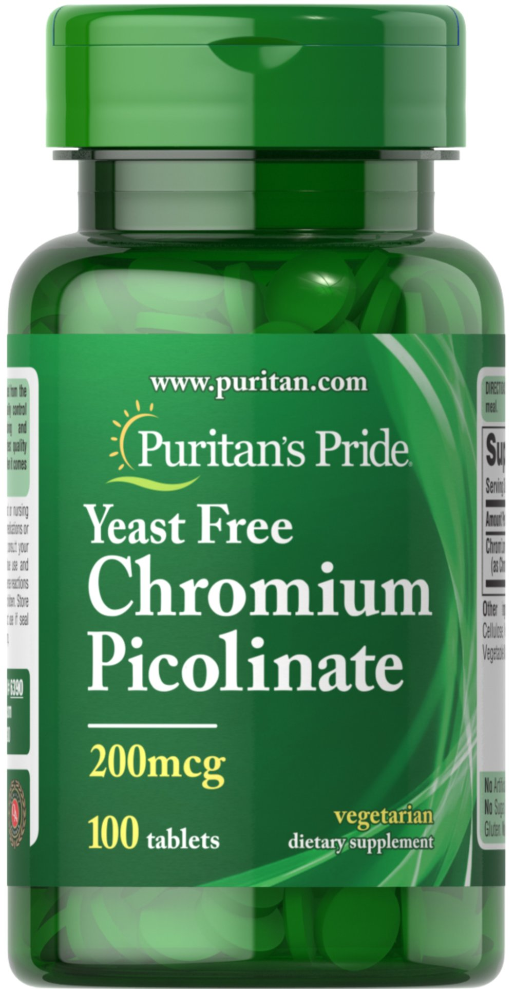 "Chromium Picolinate 200 mcg Yeast Free <p>As a trace mineral, Chromium is an essential nutrient that your body needs every day. The term ""trace"" means that Chromium is a mineral that's found in the body in very small amounts (less than 5 grams), which may make taking a Chromium supplement especially important. Our Chromium formulas are perfect for vegetarians, and are free of yeast.</p> 100 Tablets 200 mcg $3.99"