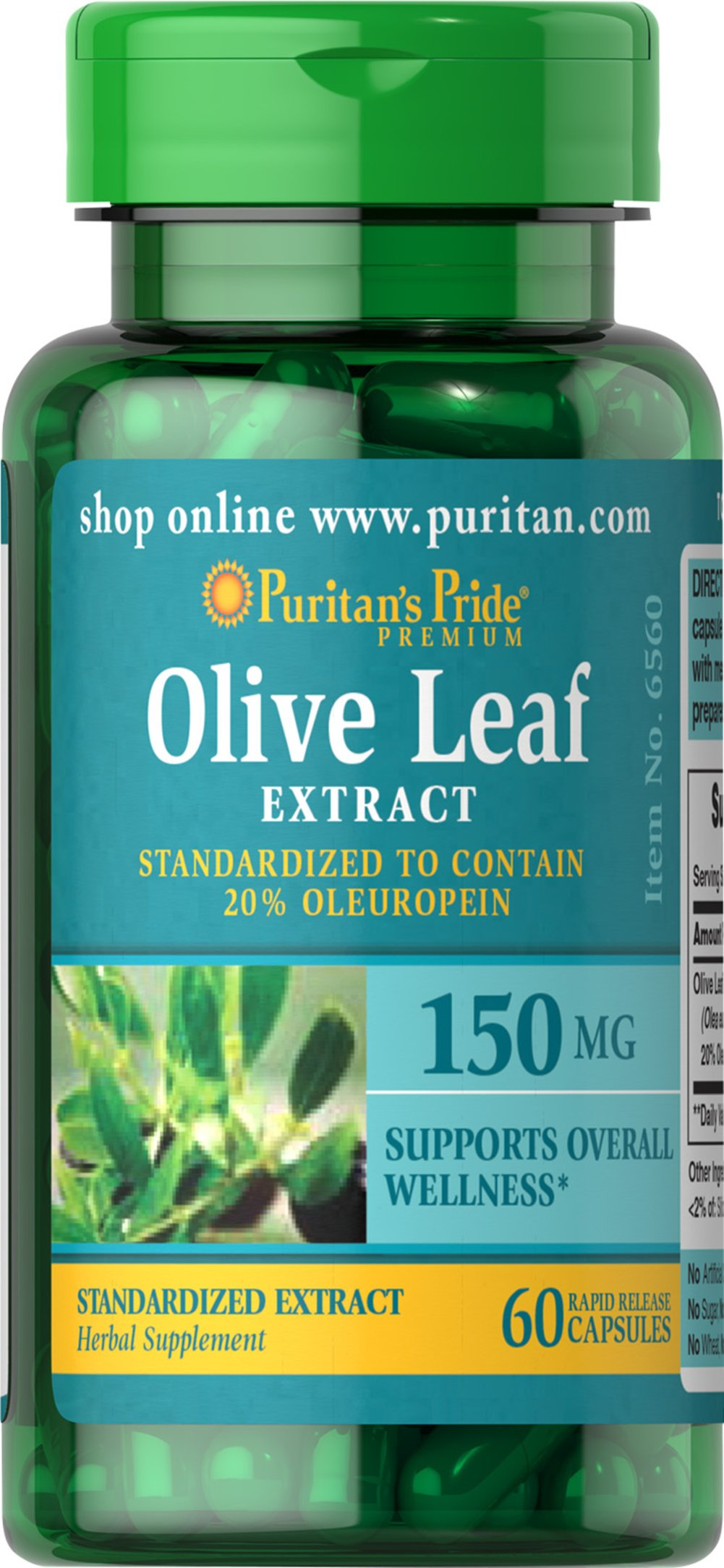 Olive Leaf Standardized Extract 150 mg <p>Our Olive Leaf Extract is derived from the leaves of the Mediterranean olive tree. This extract is standardized for 20% Oleuropein, a powerful phytonutrient. Olive leaves have been used for overall well-being for thousands of years by people in countries bordering the Mediterranean.</p> 60 Capsules 150 mg $2.78
