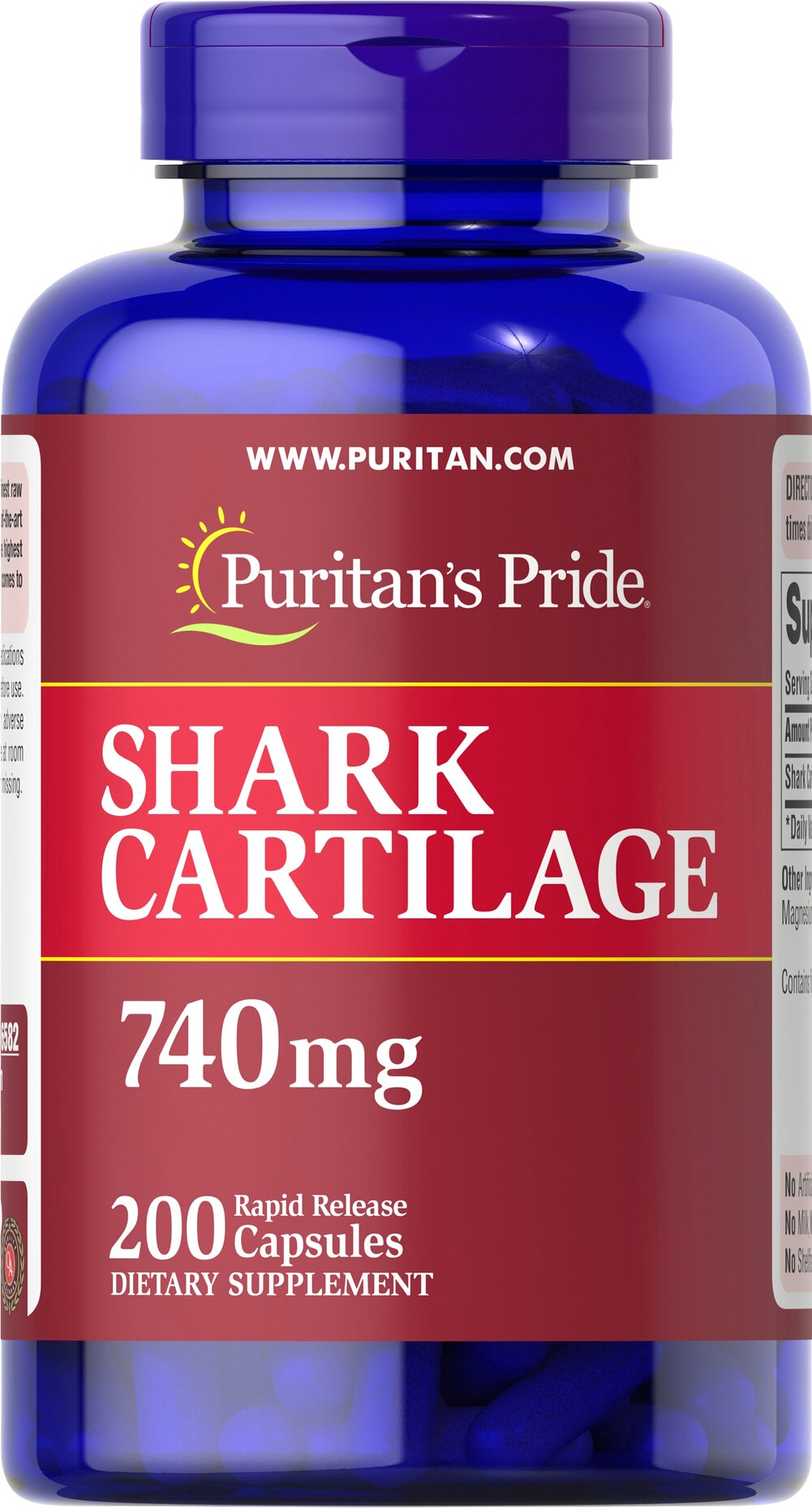 Shark Cartilage 740 mg <p>Natural joint support straight from the sea!</p><p> Shark Cartilage is a natural source of <b>Chondroitin Sulfate</b>, which is a key structural component in human cartilage.**<p> Chondroitin also plays an important role in the maintenance of joint cartilage.** </p><p>Each serving delivers <b>740 mg shark cartilage powder</b>.</p><p> Adults can take one capsule four to six times daily.</p> 200