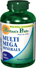 Multi Mega Minerals  <p>With Multi-Mega Mineral Tablets, you get mineral coverage with just two (2) tablets a day! This special formula includes important minerals such as iron, zinc, copper, and manganese. We also added Vitamin D (to aid in Calcium absorption).</p> 180 Tablets  $29.99