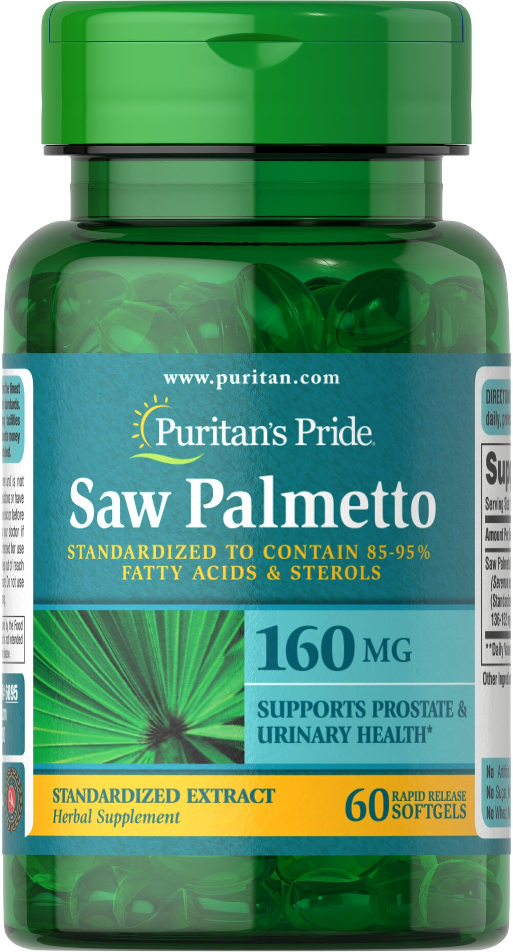 Saw Palmetto Standardized Extract 160 mg <p>Men the world over are discovering the beneficial properties of Saw Palmetto. Saw Palmetto contains phytochemicals, which support prostate health and urinary health.**</p><p>Our Saw Palmetto formula is fully assayed and standardized to ensure that each softgel contains 85-95% fatty acids and active sterols, which guarantees bioactivity.**</p> 60 Softgels 160 mg $8.49