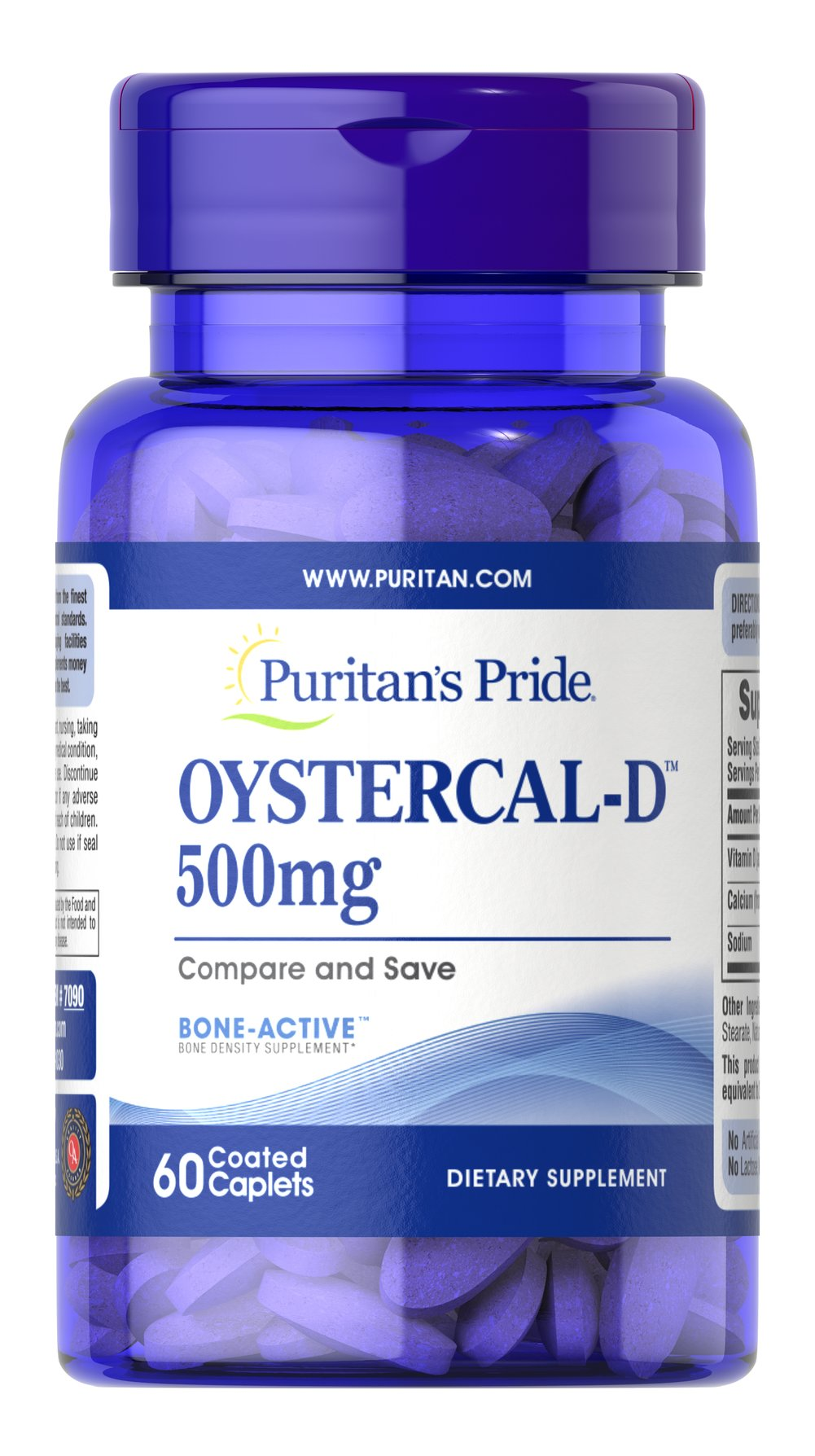 Oystercal-D™ 500 mg <p>It's time to bone-up on bone health! Our Oyster-Cal formula is a good choice for helping your maintain bone health.** It's sourced from oyster shells and delivers 1,000 mg of Calcium per serving, with the added value of Vitamin D to assist with absorption.**</p> 60 Caplets 500 mg $4.49