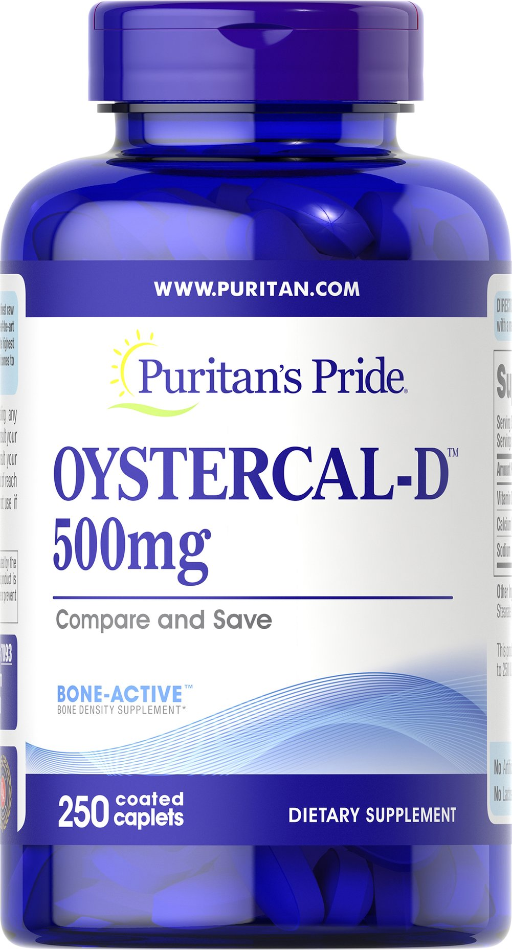 Oystercal-D™ 500 mg <p>It's time to bone-up on bone health! Our Oyster-Cal formula is a good choice for helping your maintain bone health.** It's sourced from oyster shells and delivers 1000 mg of Calcium per serving, with the added value of Vitamin D to assist with absorption.**</p> 250 Caplets 500 mg $19.99