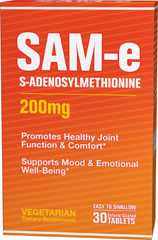 SAM-e 200 mg <p>Science has been looking into this remarkable supplement and time after time clinical studies have drawn the same conclusions, SAM-e:</p><p>Promotes healthy joint function and comfort**</p><p>Boosts mood and emotional well-being**</p> 30 Tablets 200 mg $21.59