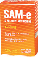 SAM-e 200 mg <p>Science has been looking into this remarkable supplement and time after time clinical studies have drawn the same conclusions, SAM-e:</p><p>Promotes healthy joint function and comfort**</p><p>Boosts mood and emotional well-being**</p> 60 Tablets 200 mg $53.99