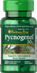 Pycnogenol® 30 mg <p>Pycnogenol® is the trade name for the extract of the bark of the French maritime pine tree. This pine bark extract supports antioxidant health by helping to fight cell-damaging free radicals**. Pycnogenol® works synergistically with Vitamins C and E to help your body assault free radicals.**</p> 30 Capsules 30 mg $22.99
