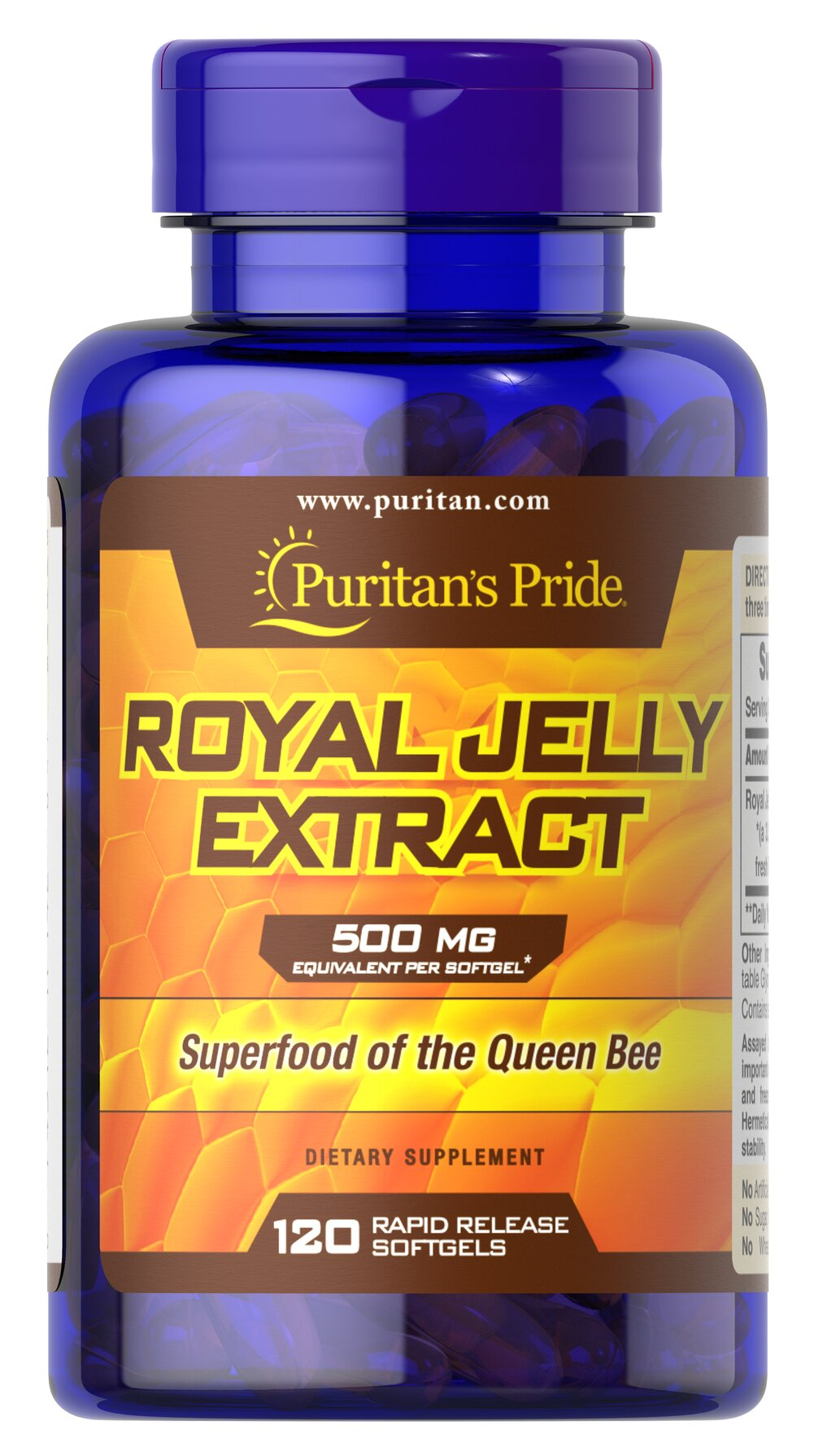 Royal Jelly 500 mg <p>Our Royal Jelly is a highly complex substance secreted from the glands of nursing bees and fed to the larvae destined to be queens. The queen eats Royal Jelly exclusively throughout her life, which can be considerable since she grows much larger and lives much longer than the average worker bee. Royal Jelly contains the natural factor, 10-Hydroxy-2-Decenoic Acid (10-HDA).</p> 120 Softgels 500 mg $24.99