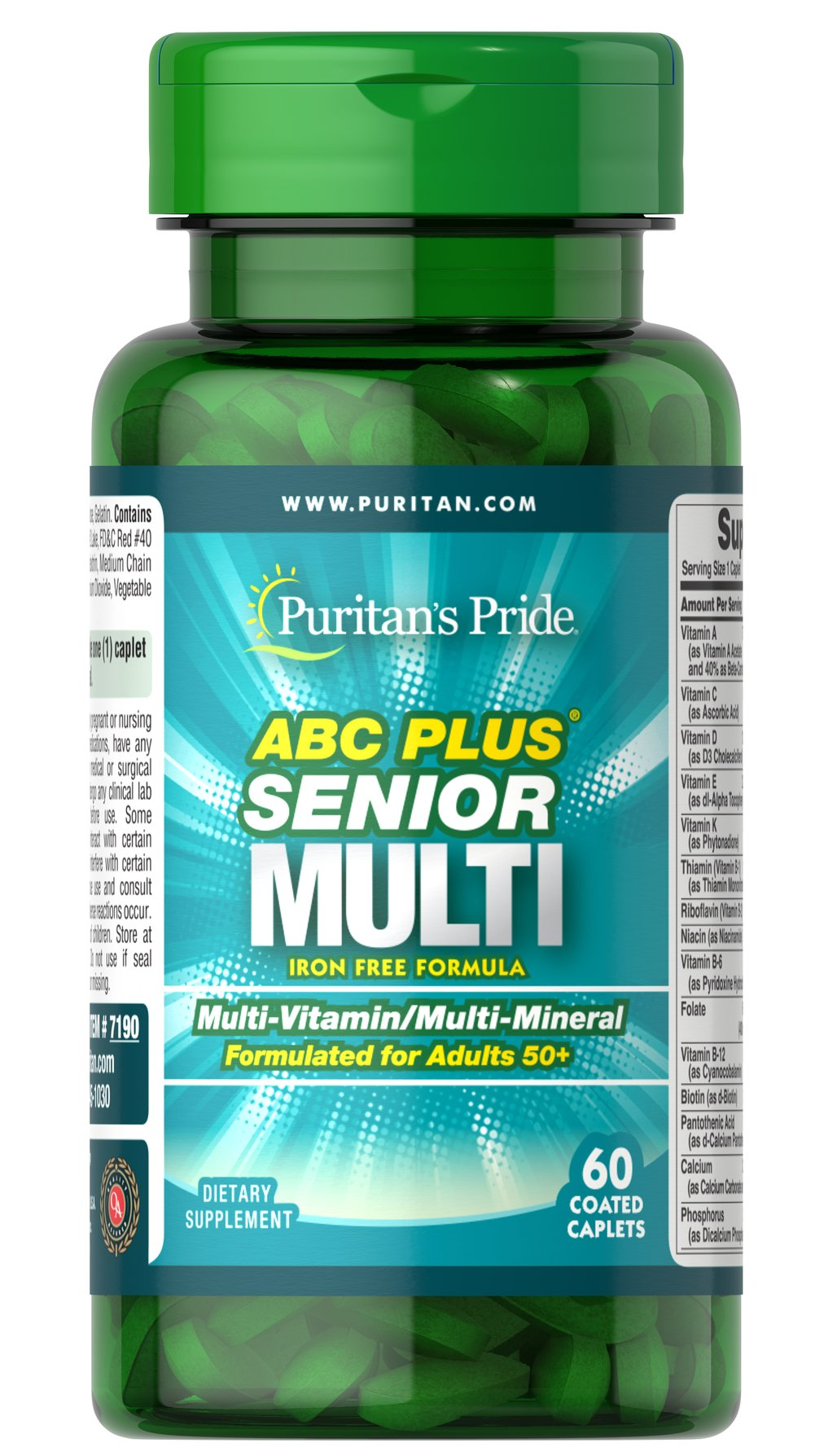 ABC Plus® Senior Multivitamin Multi-Mineral Formula <p>A special high-quality blend of vitamins and minerals formulated exclusively for adults 50 and over; delivers 100% or more daily values of Vitamins C, D, E, B-2, Niacin, Folic Acid, B-12, Zinc and more. This iron-free, heart-healthy supplement also includes Lutein and Lycopene.** Compare and save!</p> 60 Caplets  $8.99