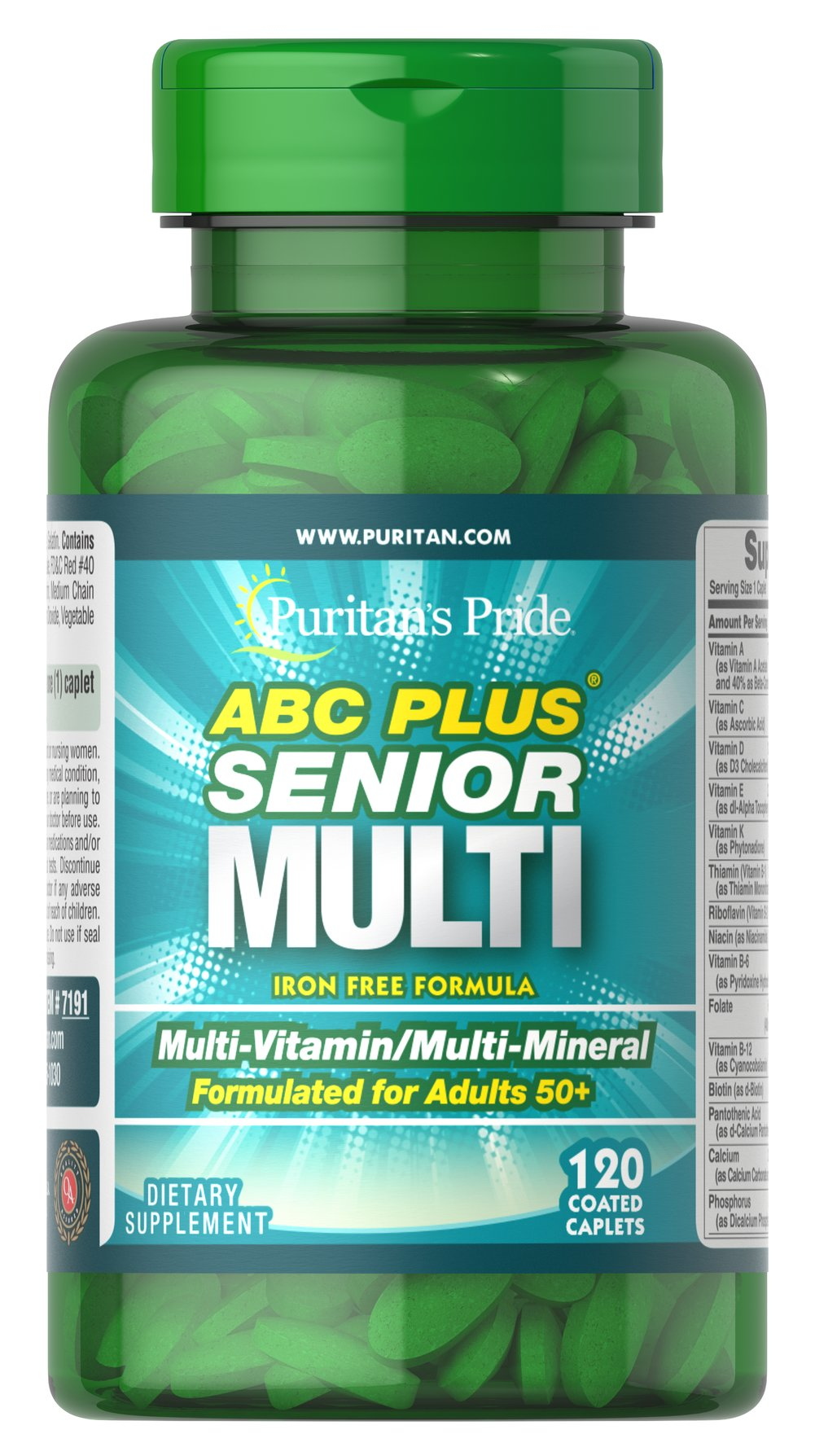 ABC Plus® Senior Multivitamin Multi-Mineral Formula <p>A special high-quality blend of vitamins and minerals formulated exclusively for adults 50 and over; delivers 100% or more daily values of Vitamins C, D, E, B-2, Niacin, Folic Acid, B-12, Zinc and more. This iron-free, heart-healthy supplement also includes Lutein and Lycopene.** Compare and save!</p> 120 Caplets  $15.49