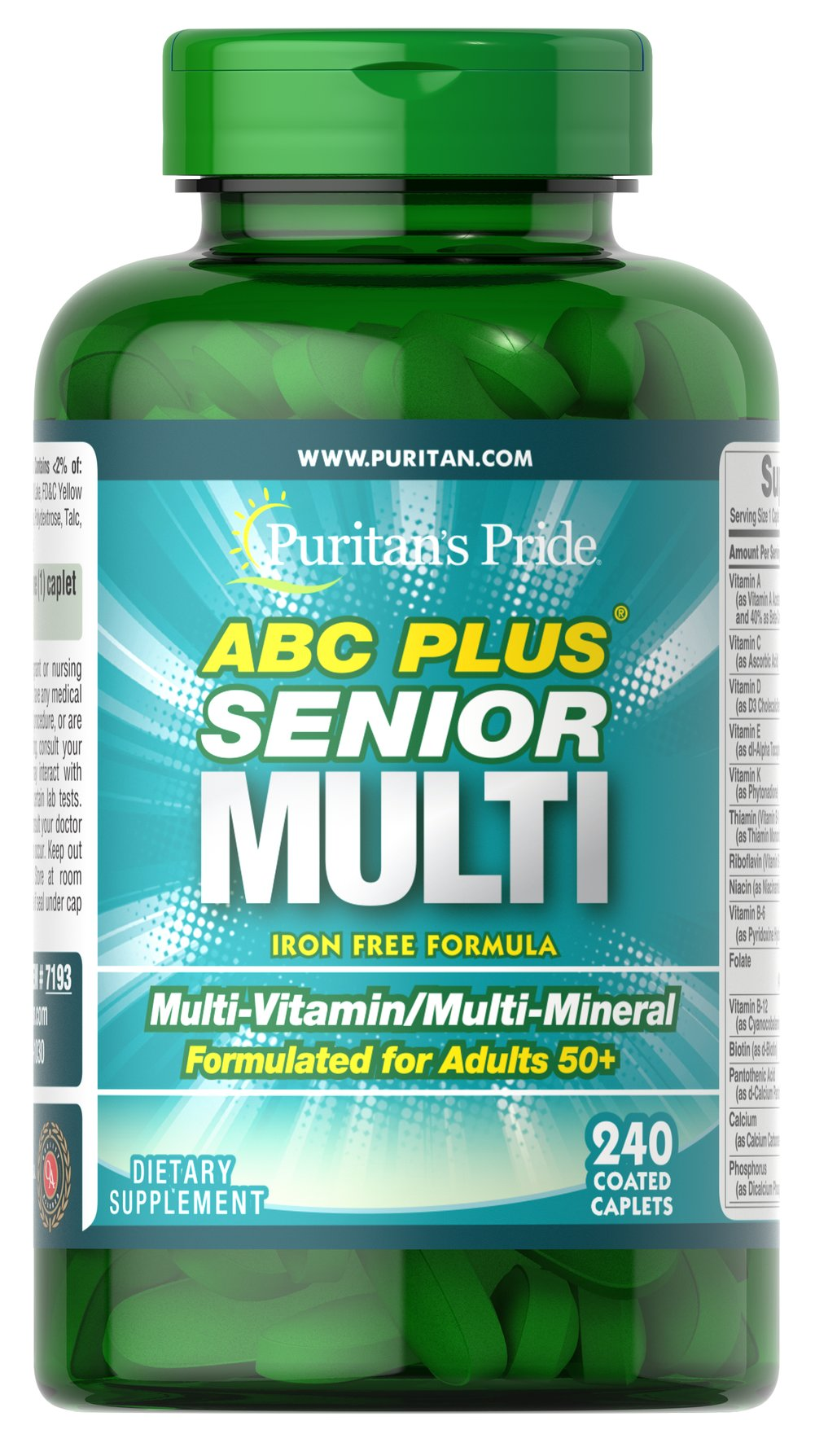 ABC Plus® Senior Multivitamin Multi-Mineral Formula <p>A special high-quality blend of vitamins and minerals formulated exclusively for adults 50 and over; delivers 100% or more daily values of Vitamins C, D, E, B-2, Niacin, Folic Acid, B-12, Zinc and more. This iron-free, heart-healthy supplement also includes Lutein and Lycopene.** Compare and save!</p> 240 Caplets  $27.99