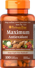 Maximum Antioxidant Formula <p>The ingredients in this product are some of the best antioxidants available to combat the harmful effects of free radicals, promote heart health, and support immune system health.**</p><p>Each serving delivers the following: Vitamin A, Vitamin C, Vitamin E, Zinc, Selenium, Co Q-10, Pycnogenol, and 16 other ingredients that include Green Tea Extract and a Citrus Bioflavonoid Complex. </p>  100 Caplets