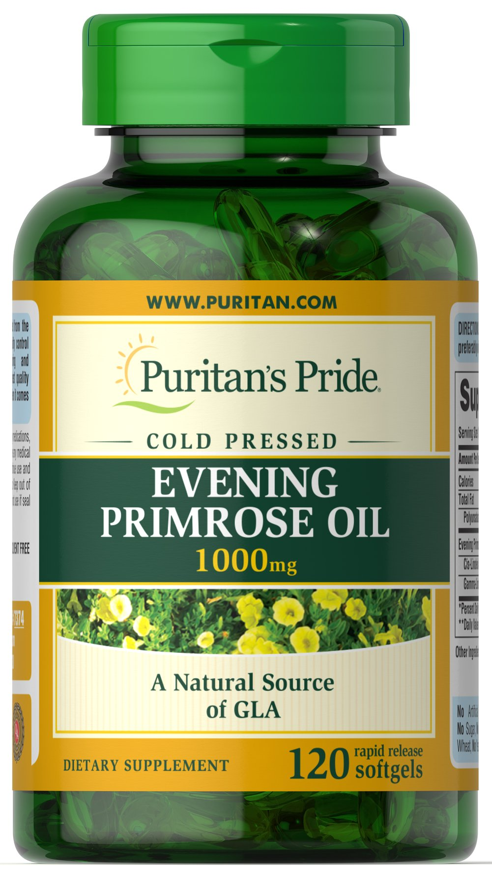 Evening Primrose Oil 1000 mg with GLA <p>EPO may play a role in promoting smooth, healthy-looking skin.** These easy-to-swallow softgels are a natural source of GLA (Gamma Linolenic Acid). Our EPO contains one of the most concentrated forms of this Omega-6 fatty acid available today. The EPO used for Puritan's Pride is 100% pure, solvent-free, cold pressed and void of hexane and other solvent residues. </p><p>All three potencies (500 mg, 1000 mg, or 1300 mg) deliver 9% GLA cont