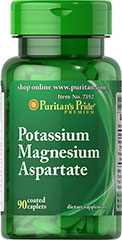 Potassium Magnesium Aspartate <p>Each tablet contains (250 mg) potassium aspartate equivalent to (50 mg) elemental potassium and (250 mg) magnesium aspartate equivalent to (50 mg) elemental magnesium.</p> 180 Caplets 50 mg $20.59
