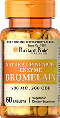 Bromelain 500 mg 300 GDU/gram <p>Derived from the stems of pineapple, Bromelain is a natural digestive enzyme.** </p><p>As a natural enzyme, Bromelain helps digest protein in the gastrointestinal tract.** </p><p>In general, enzymes break down the nutritional components of proteins, fats and carbohydrates, making these nutrients available for the body's energy needs, cell growth and other vital functions.**</p> 60 Tablets 500 mg $12.29