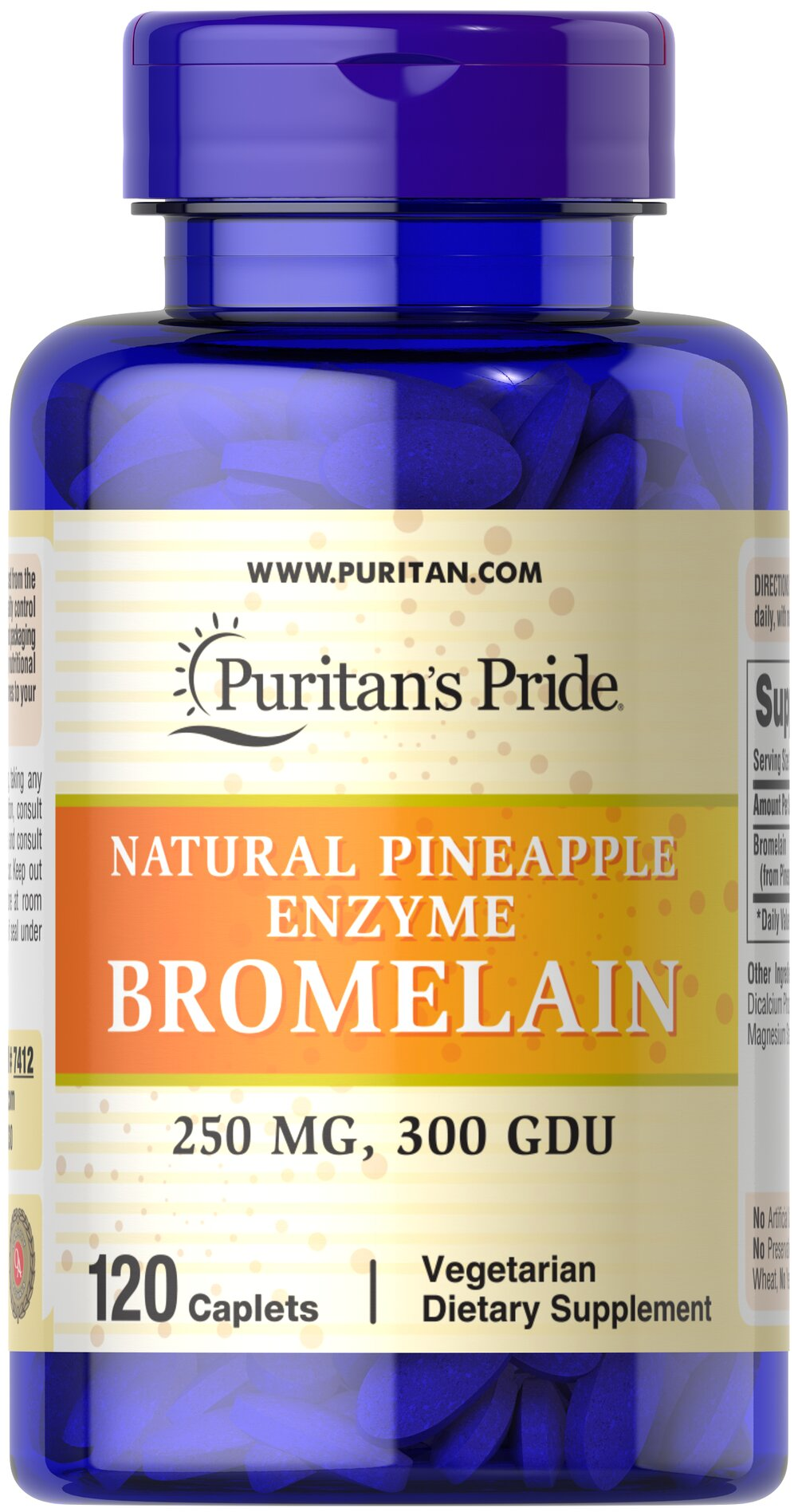 Bromelain 500 mg 300 GDU/gram <p>Derived from the stems of pineapple, Bromelain is a natural digestive enzyme.** </p><p>As a natural enzyme, Bromelain helps digest protein in the gastrointestinal tract.** </p><p>In general, enzymes break down the nutritional components of proteins, fats and carbohydrates, making these nutrients available for the body's energy needs, cell growth and other vital functions.**</p> 120 Caplets 500 mg $24.99