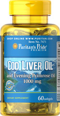 Cod Liver Oil & Evening Primrose Oil 1000mg <p><p><b>Cod Liver Oil naturally contains the Omega-3 fatty acids, EPA and DHA</b>. Cod Liver Oil is a natural source of Vitamins A and D, which help maintain bones and a healthy immune system.** Vitamin A also assists in many other functions, such as eyesight and skin maintenance.**</p><p>Evening Primrose Oil is a rich, natural source of the important unsaturated fatty acid gamma-linolenic acid (GLA).</p>