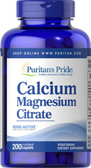 Calcium Magnesium Citrate <p>Calcium and Magnesium play essential roles in maintaining proper bone mineralization.** Calcium and Magnesium are also involved in muscle contractions and nerve impulses.** As a unique, bioavailable form of Calcium and Magnesium, Puritan's Pride Cal/Mag Citrate works synergistically to promote bone health.** Our Cal-Mag Citrate comes in a 2:1 combination, providing 1000 mg of Calcium and 500 mg of Magnesium.</p> 200 Tablets 250 mg/125 mg $17.99
