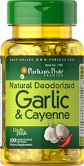 Natural Deodorized Garlic & Cayenne 300 mg / 150 mg <p>Promotes healthy cholesterol levels**</p> <p>Supports heart and circulatory health**</p> <p>Easy-to-swallow odorless softgels</p> <p> Garlic has been relied on for centuries for its rejuvenating antioxidant properties.** Garlic can also substantially promote the health of your heart and cardiovascular system, while helping to maintain cholesterol levels that are already within the normal range.**