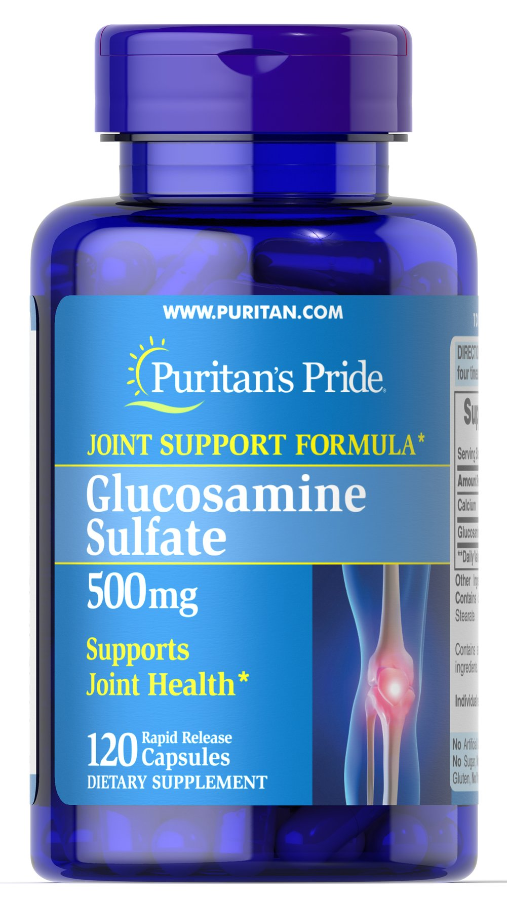 Glucosamine Sulfate 500 mg <p>Promotes Healthy Joints**</p><p>Supports Cartilage Maintenance**</p><p>As a key ingredient in cartilage, Glucosamine plays an important role in good joint health and helps promote healthy joints and cartilage maintenance.** Studies indicate that Glucosamine provides the building blocks for constructing cartilage.** Our Glucosamine Sulfate capsules are perfect for anyone desiring extra nutritional support for cartilage and joints.**</