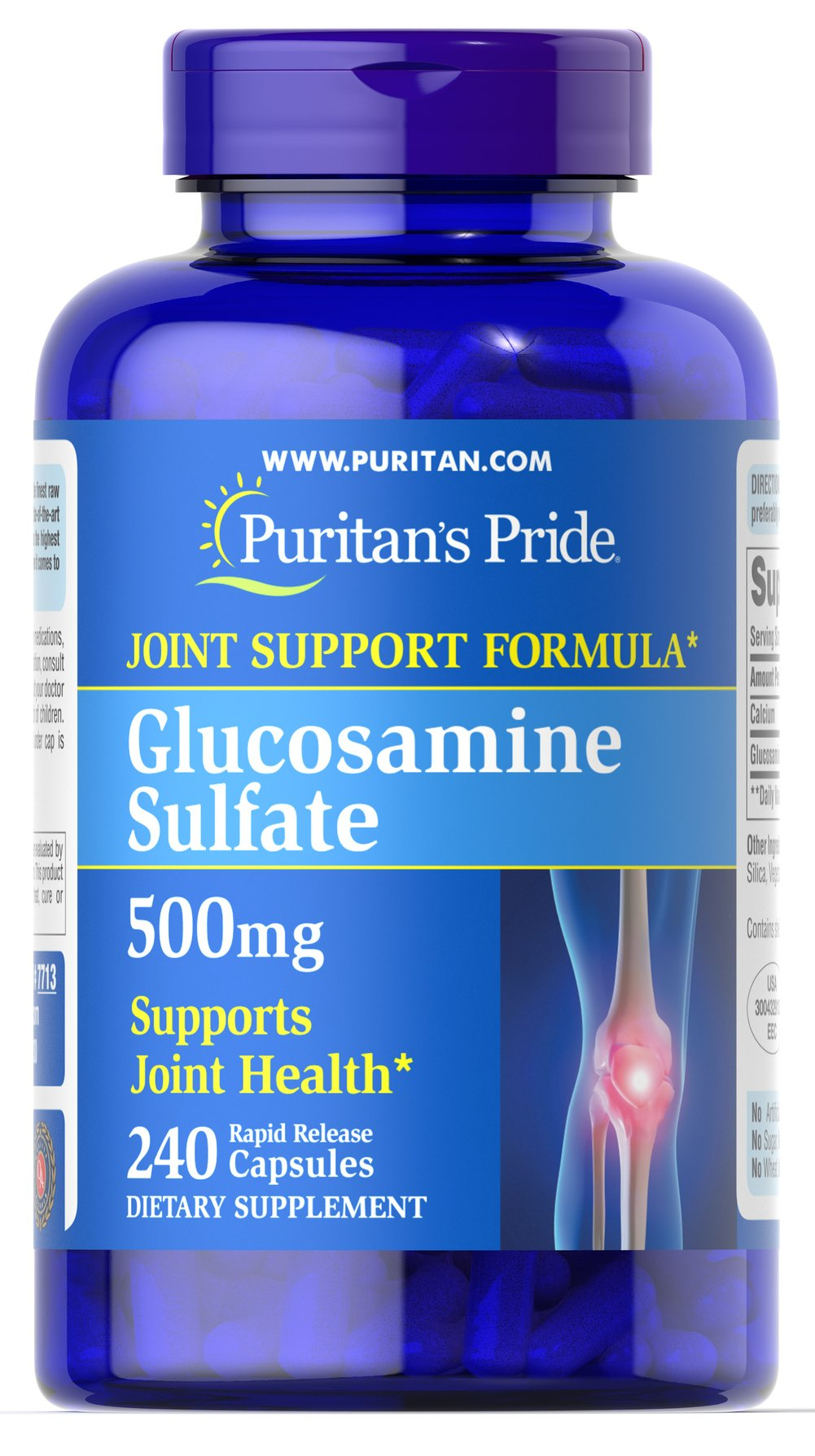 Glucosamine Sulfate 500 mg <p>Promotes Healthy Joints**</p><p>Supports Cartilage Maintenance**</p><p>As a key ingredient in cartilage, Glucosamine plays an important role in good joint health and helps promote healthy joints and cartilage maintenance.** Studies indicate that Glucosamine provides the building blocks of cartilage.** Our Glucosamine Sulfate capsules are perfect for anyone desiring extra nutritional support for cartilage and joints.**</p><p>
