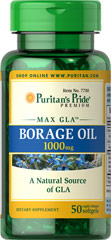 Borage Oil 1000 mg <p>Borage Oil is an excellent plant source of the Omega-6 fatty acid Gamma Linolenic Acid (GLA). Perfect for people on low-fat diets, Borage Oil assists in the production of prostaglandins and supports cellular and metabolic health.** Research indicates that GLA is also beneficial for women's health.** Our 1000 mg softgels typically contain 190 mg of GLA and 350 mg of Linoleic Acid.</p> 50 Softgels 1000 mg $11.88