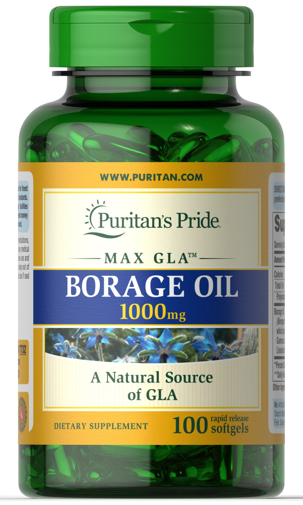 Borage Oil 1000 mg <p>Borage Oil is an excellent plant source of the Omega-6 fatty acid Gamma Linolenic Acid (GLA). Perfect for people on low-fat diets, Borage Oil assists in the production of prostaglandins and supports cellular and metabolic health.** Research indicates that GLA is also beneficial for women's health.** Our 1000 mg softgels typically contain 190 mg of GLA and 350 mg of Linoleic Acid.</p> 100 Softgels 1000 mg $22.38