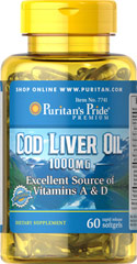 Cod Liver Oil 1000 mg <p>Norwegian cod has traditionally been one of the most popular natural sources of  <b>both Vitamins A & D</b>. </p> <p>Vitamin D helps maintain healthy bones in adults. ** </p>  <p>Vitamin A helps maintain eye health. **</p>  <p>Vitamins A & D help regulate the immune system.**</p>  60 Softgels 1000 mg $12.29