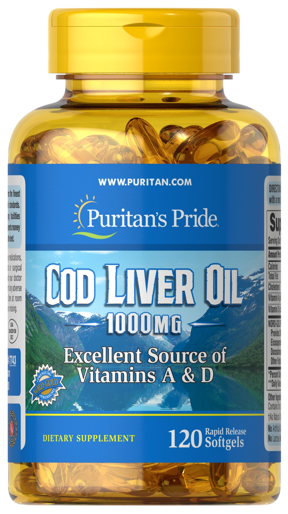 Cod Liver Oil 1000 mg <p>Norwegian cod has traditionally been one of the most popular natural sources of  <b>both Vitamins A & D</b>. </p> <p>Vitamin D helps maintain healthy bones in adults. ** </p>  <p>Vitamin A helps maintain eye health. **</p>  <p>Vitamins A & D help regulate the immune system.**</p>  120 Softgels 1000 mg $22.59