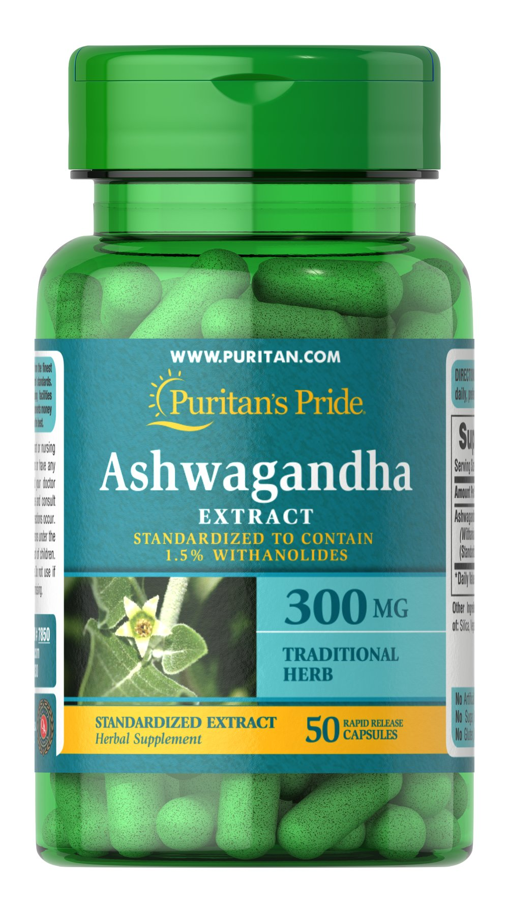 "Ashwagandha Standardized Extract 300 mg <p>Famous for its goodness as a refresher**</p><p>Known as the ""Indian Ginseng""</p><p>Standardized to contain 1.5% Withanolides</p><p>Rapid Release Capsules<br /></p> 50 Capsules 300 mg $8.99"