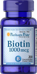 Biotin 1000 mcg <p>Supports Carbohydrate, Protein and Fat Metabolism**</p><p>Found in foods such as oatmeal and soy, Biotin, a water soluble B vitamin, assists in energy metabolism in cells.** Biotin is essential for the intermediate metabolism of carbohydrates, proteins and fats.** In addition, Biotin helps to support healthy skin and hair.**</p> 200 Tablets 1000 mcg $13.99