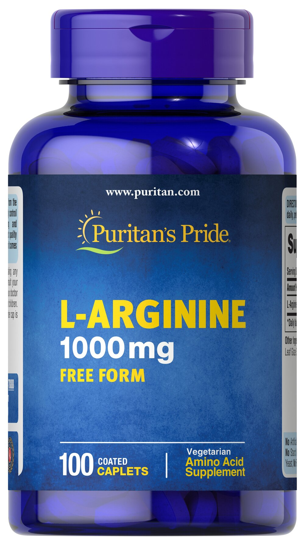 L-Arginine 1000 mg <p>Arginine is one of 20 amino acids, the building blocks of protein.** Arginine can  serve as a source of energy, and is involved in various pathways throughout the body.** Arginine supports the effect of exercise and is one of the most important amino acids involved in immune function.** Adults can take one caplet daily. </p> 100 Caplets 1000 mg