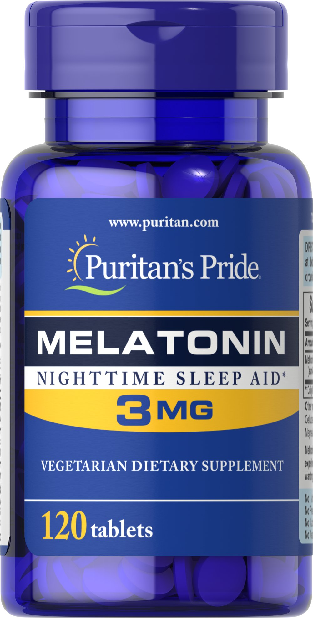 Melatonin 3 mg <p>Sometimes it's hard to unwind after a long day. That's when it's time for Melatonin, a hormone naturally produced in the body that is closely involved in the natural sleep cycle.** It's a terrific choice if you experience occasional sleeplessness or jet lag, or if you want to improve your quality of rest.**  Melatonin helps you fall asleep quickly and stay asleep longer**<br /></p> 120 Tablets 3 mg $6.99