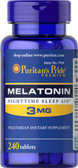 Melatonin 3 mg <p>Sometimes it's hard to unwind after a long day. That's when it's time for Melatonin, a hormone naturally produced in the body that is closely involved in the natural sleep cycle.** It's a terrific choice if you experience occasional sleeplessness or jet lag, or if you want to improve your quality of rest.**  Melatonin helps you fall asleep quickly and stay asleep longer**<br /></p> 240 Tablets 3 mg $11.11
