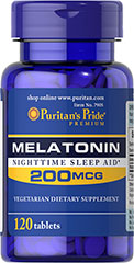 Melatonin 200 mcg <p>Sometimes it's hard to unwind after a long day. That's when it's time for Melatonin, a hormone naturally produced in the body that is closely involved in the natural sleep cycle.** It's a terrific choice if you experience occasional sleeplessness or jet lag, or if you want to improve your quality of rest.**  </p><p></p> 120 Tablets 200 mcg $6.29