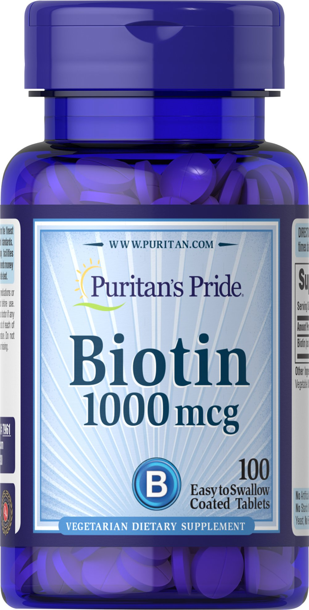 Biotin 1000 mcg <p>Supports Carbohydrate, Protein and Fat Metabolism**</p><p>Found in foods such as oatmeal and soy, Biotin, a water soluble B vitamin, assists in energy metabolism in cells.** Biotin is essential for the intermediate metabolism of carbohydrates, proteins and fats.** In addition, Biotin helps to support healthy skin and hair.**</p> 100 Tablets 1000 mcg $7.49