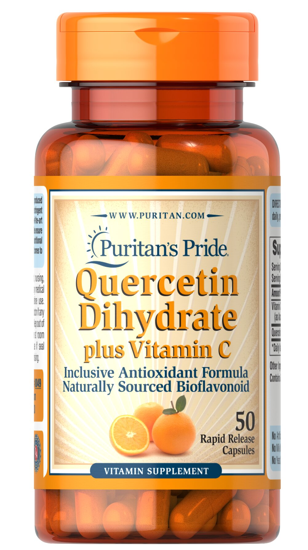 Quercetin Plus Vitamin C 250 mg/700 mg <p>Quercetin is a non-citrus bioflavonoid that possesses  beneficial antioxidant qualities.** For added support, we include Vitamin C, which has many benefits for your immune system, heart, joints and skin.** As an antioxidant, Vitamin C also helps neutralize harmful free radicals in cells.** This product contains 1400 mg Vitamin C (as Ascorbic Acid) and 500 mg Quercetin Dihydrate. Adults can take two tablets daily.</p> 50 Capsules 250 mg/700 mg