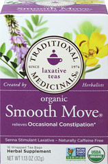 Smooth Move® Herbal Tea <p><strong>From the Manufacturer's Label: </strong></p><p>Smooth Move is a sweet tasting herbal tea that contains the active ingredient Sennosides (20 mg) A & B per cup from senna leaf.  Smooth Move Tea is caffeine-free.</p><p>Manufactured by TRADITIONAL MEDICINALS.</p> 16 Tea Bags  $3.99