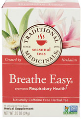 Breathe Easy® Tea <p><strong>From the Manufacturer</strong></p><p>Promotes Respiratory Health**</p><p>Made with Organic Licorice Root</p><p>Caffeine Free</p><p>Breathe Easy is a complex and aromatic blend of herbal tastes - spicy aromatic and cooling, somewhat bitter and astringent, and slightly sweet.</p> 16 Tea Bags  $3.99