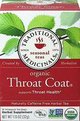 Throat Coat Tea <p><strong>From the Manufacturer's Label: </strong></p><p>Traditional Throat Coat Tea bags is a caffeine free, herbal tea. Contains Licorice Root, Slippery Elm Bark, Marshmallow Root and a Proprietary Blend.</p> 16 Tea Bags  $9.99