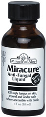 Miracure Anti-Fungal with Aloe Liquid <p><strong>From the Manufacturer's Label: </strong></p><p>Antifungal Treatment with Aloe Vera</p><p>Stop Ugly Fungus!  This unique formula of antifungal agents is fortified with soothing aloe vera.  Used twice daily, it will eliminate odors and ugly fungus on the skin surrounding fingernails and toenails - since the source of the fungus is in the live tissue of the skin not the nails.  Works on both hands and fee