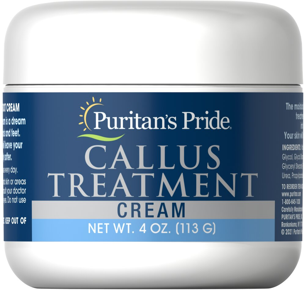 Callus Treatment Cream <p>Do you dread putting on your shoes each morning because of painful foot calluses?  This soothing foot cream may help.  Developed by a leading Podiatrist, it contains soothing moisturizers that penetrate deep into hardened, thickened skin.  Simply apply the cream directly to calluses each day.  It's non-greasy, so it will not stain footwear or clothing.  In just days your feet will look and feel better.</p> 4 oz Cream  $7.99