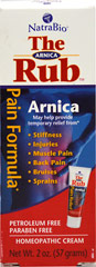 The Arnica Rub™ Pain Relief Cream <p><strong>From the Manufacturer's Label: </strong></p><p>Arnica Cream is a non-greasy, unscented, quickly absorbing cream. Arnica Cream contains the following: Aconitum Napellus (monkshood) 1X, Arnica Montana (leopard's bane) 1X, Belladonna (nightshade) 1X, Calendula Officinalis (garden marigold) 1X, Hamamelis Virginica (Witch Hazel) 1X, Hypericum Perforatum (St. John's wort) 1X, Ruta Graveolens (rue) 1X, Symphytum Offi